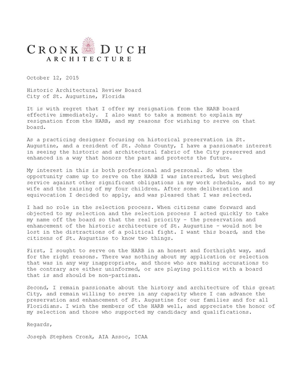 regretful resignation letter